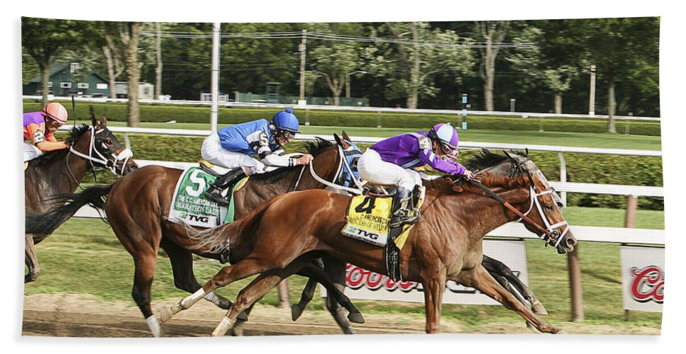 Saratoga Race Track 2013 Hand Towel featuring the photograph Ahead By A Nose by Eric Swan