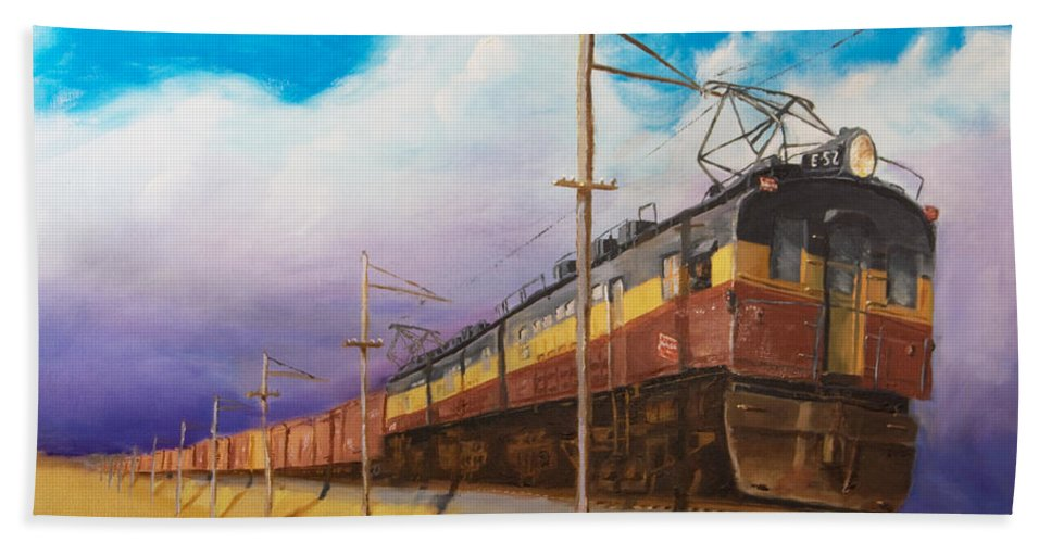 Electric Locomotive Bath Towel featuring the painting Ahead Of The Weather by Christopher Jenkins
