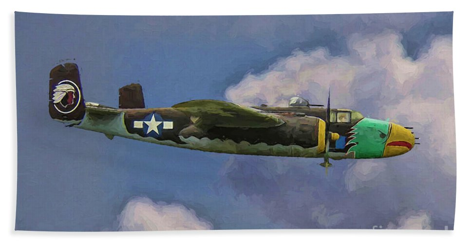B-25j Hand Towel featuring the digital art Air Apaches B-25j by Tommy Anderson
