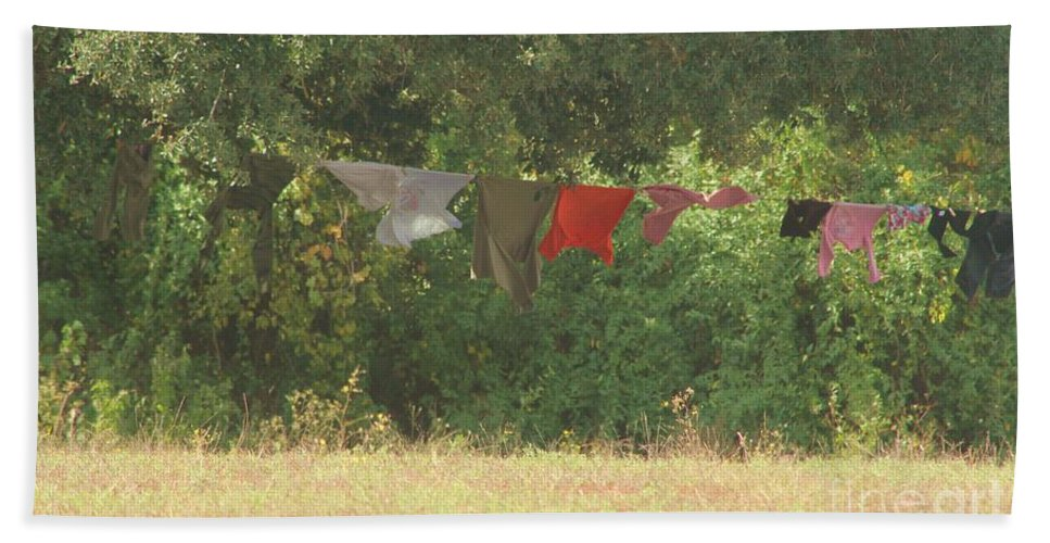Laundry Hand Towel featuring the photograph Air Out Your Dirty Laundry by Michelle Powell