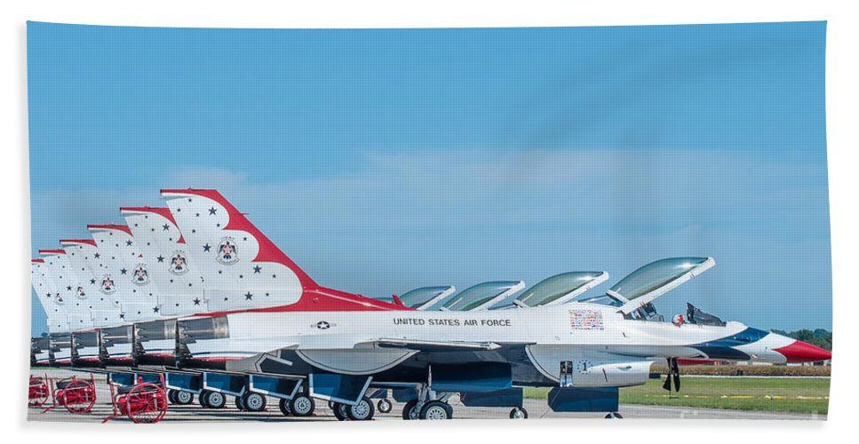 Navy Hand Towel featuring the photograph Air Show Thunderbirds by Amel Dizdarevic
