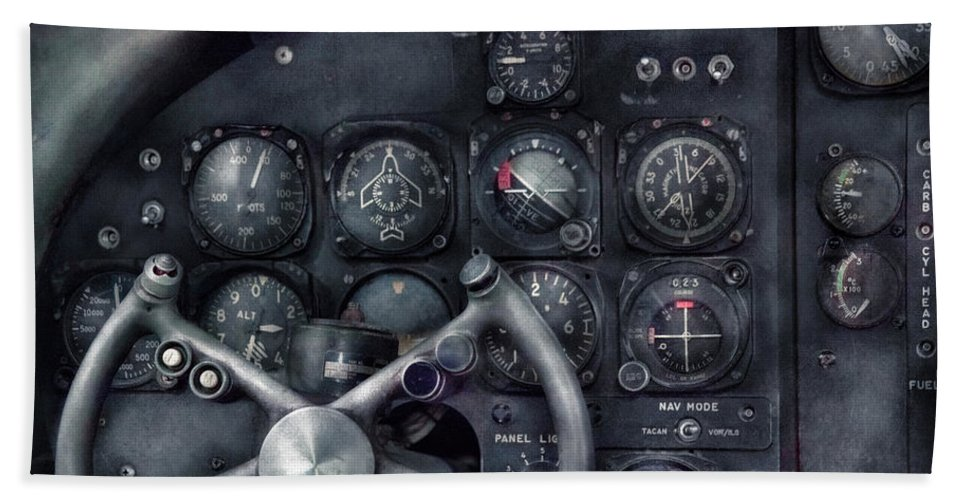 Suburbanscenes Hand Towel featuring the photograph Air - The Cockpit by Mike Savad