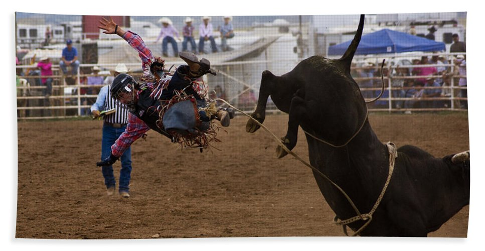 Rodeo Bath Sheet featuring the photograph Airborne by Patrick Moore