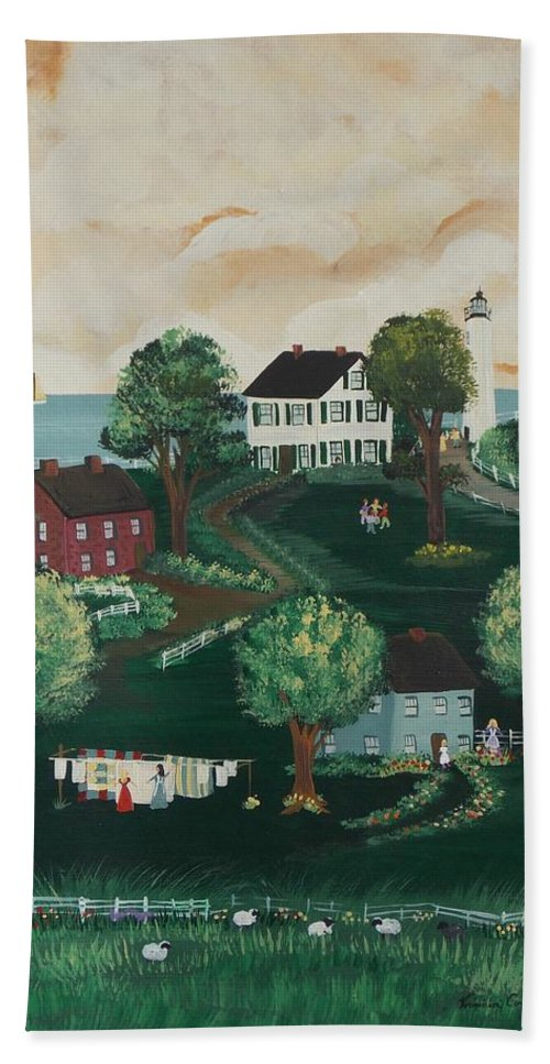 Folk Art Hand Towel featuring the painting Airing Out The Quilts by Virginia Coyle