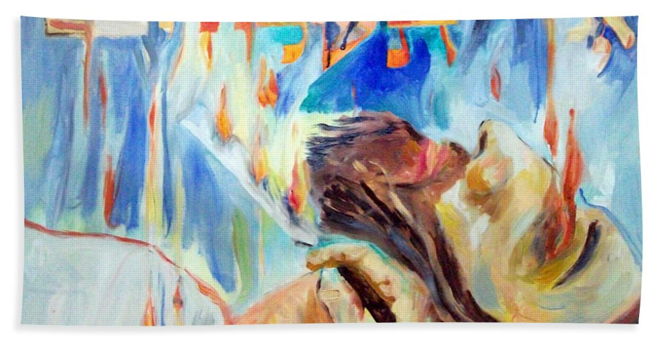 Bath Sheet featuring the painting Akedas Yitzchak by David Baruch Wolk