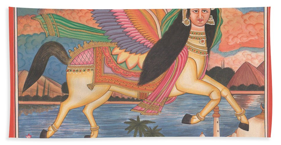 Dul Dul Horse Prophet Muhammad Painting Handmade Islamic Paper Painting Folk Art Quran Islam Islamic Art Painting Muslim Bath Sheet featuring the painting Al Buraq Dul Dul Horse Prophet Muhammad Painting Handmade Islamic Paper Painting Folk Art by A K Mundhra