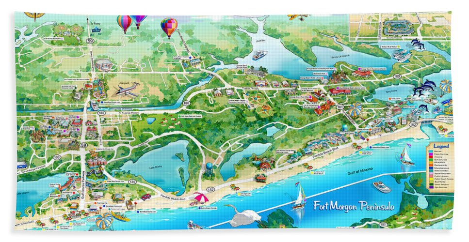Alabama Beach Illustrated Map Bath Towel for Sale by Maria Rabinky on