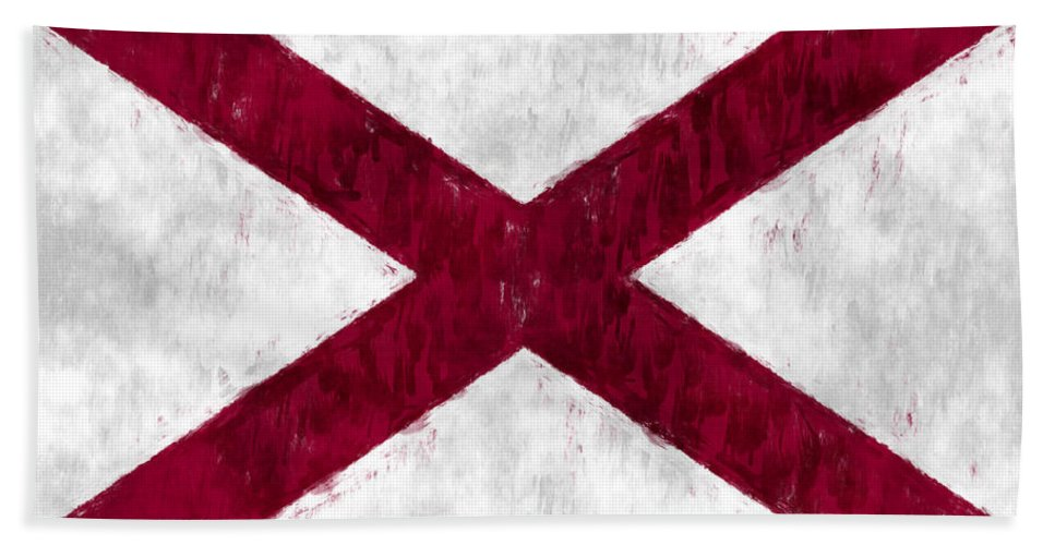 Alabama Hand Towel featuring the digital art Alabama Flag by World Art Prints And Designs