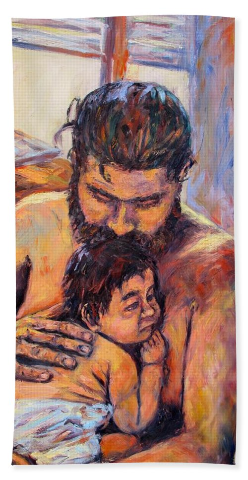 Kendall Kessler Bath Towel featuring the painting Alan And Clyde by Kendall Kessler
