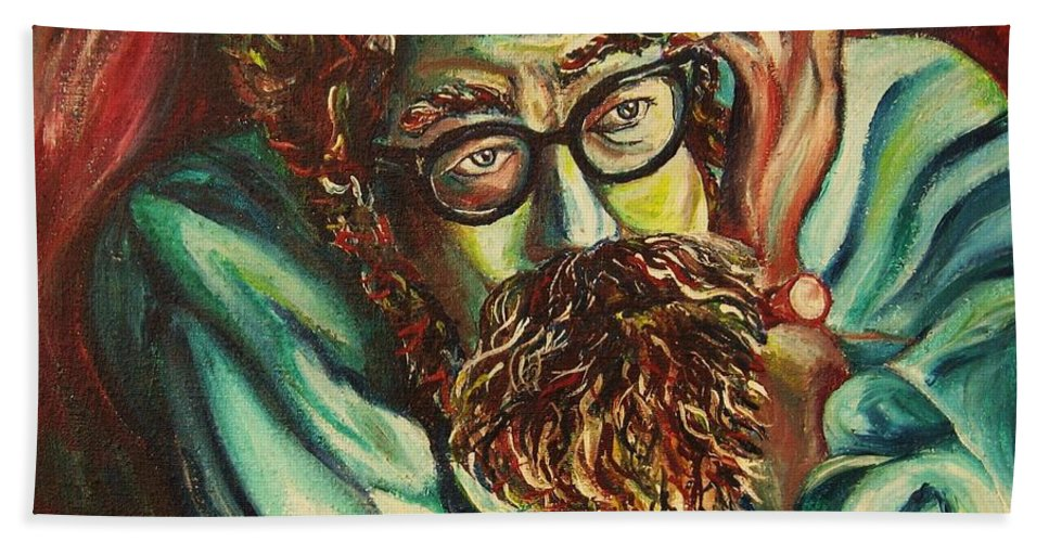 Allen Ginsberg Hand Towel featuring the painting Alan Ginsberg Poet Philosopher by Carole Spandau