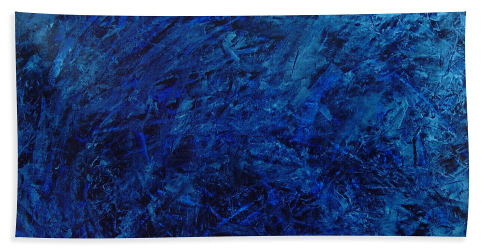 Abstract Bath Towel featuring the painting Alans Call by Dean Triolo