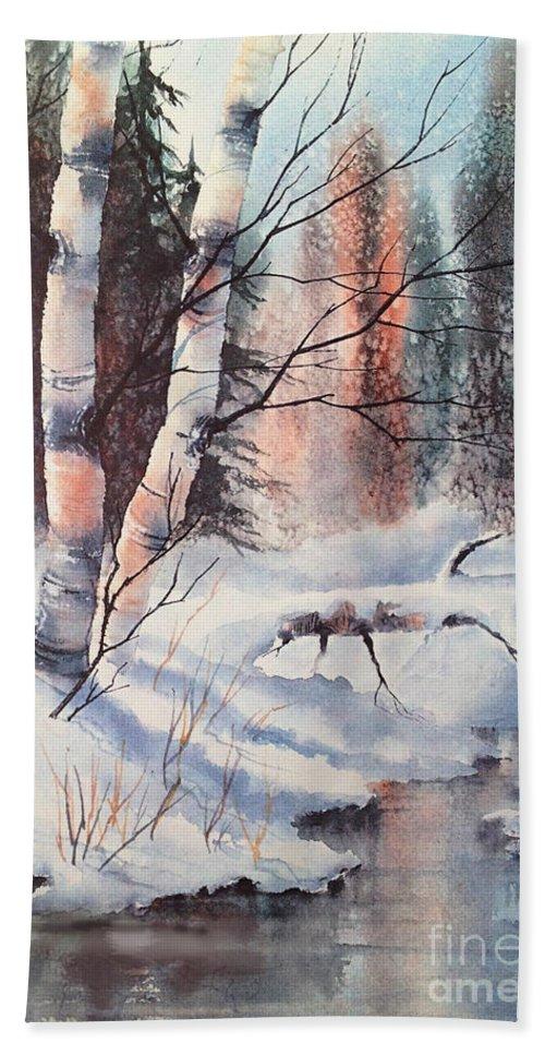 Alaska Birch Ii Hand Towel featuring the painting Alaska Birch II by Teresa Ascone