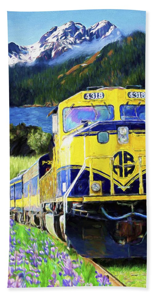 Railroad Bath Towel featuring the painting Alaska Railroad by David Wagner