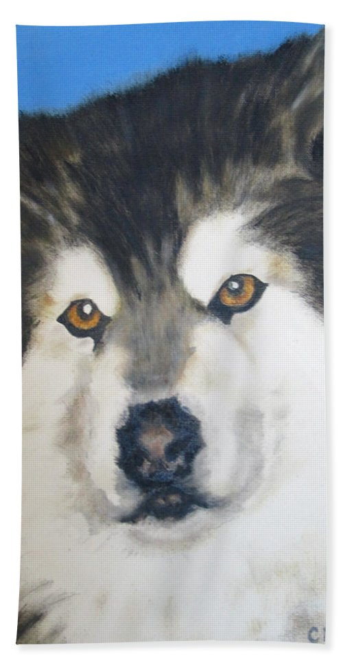 Dogs Hand Towel featuring the painting Alaskan Malamute by Carol Luzzi