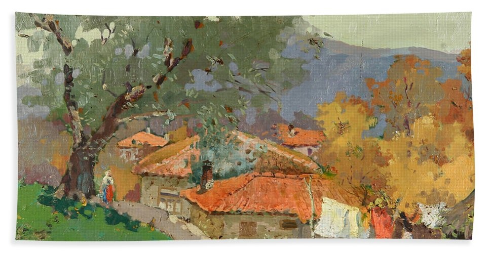 Albanian Countryside Bath Towel featuring the painting Albanian Countryside by Ylli Haruni
