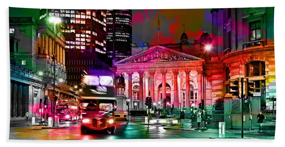 Albany New York Skyline Painting Hand Towel featuring the mixed media Albany New York Skyline Painting by Marvin Blaine