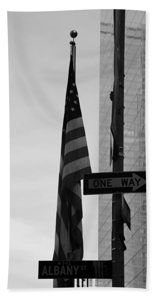 Wtc Hand Towel featuring the photograph Albany Street In Black And White by Rob Hans