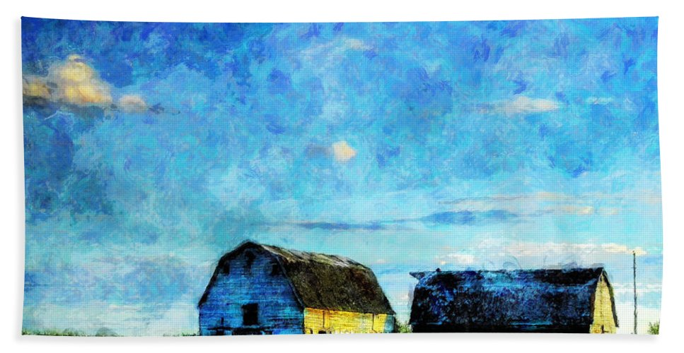 Alberta Hand Towel featuring the painting Alberta Barn at Sunset by Sandy MacGowan