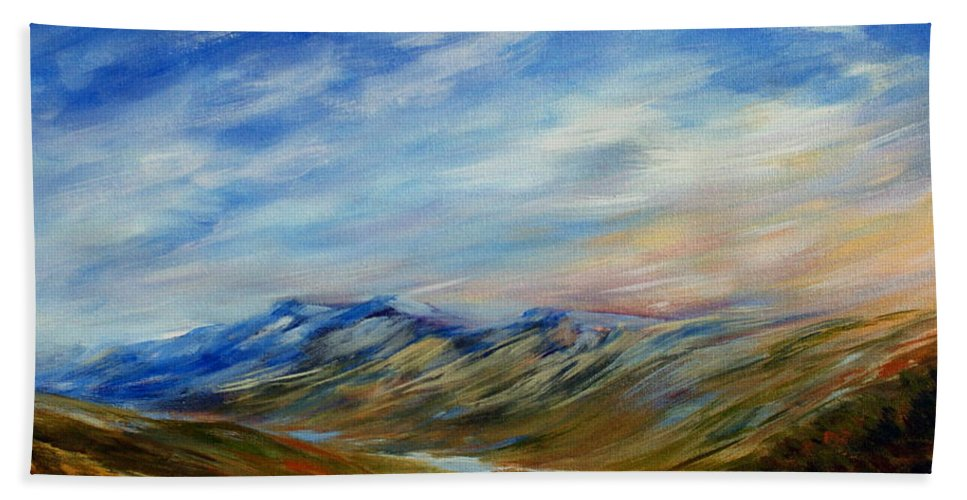 Alberta Moment Hand Towel featuring the painting Alberta Moment by Joanne Smoley