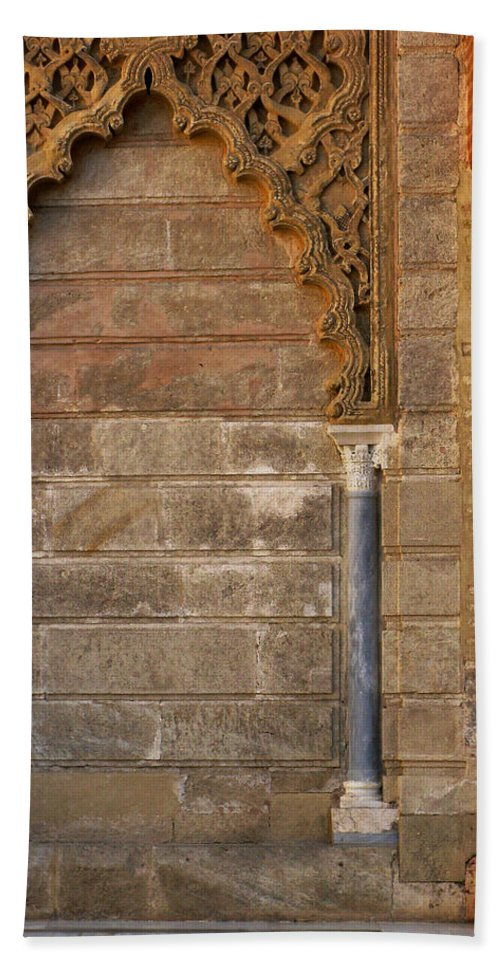 Alcazar Hand Towel featuring the photograph Alcazar Columns In Spain by Greg Matchick