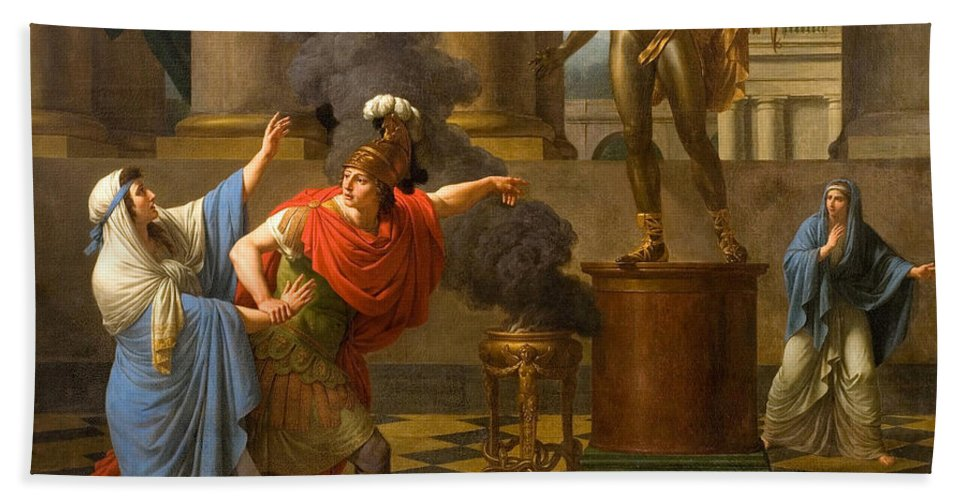 Louis-jean-francois Lagrenee Bath Sheet featuring the painting Alexander Consulting The Oracle Of Apollo by Louis-Jean-Francois Lagrenee