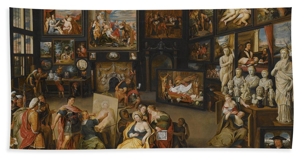 Willem Van Haecht Bath Sheet featuring the painting Alexander The Great Visiting The Studio Of Apelles by Willem van Haecht