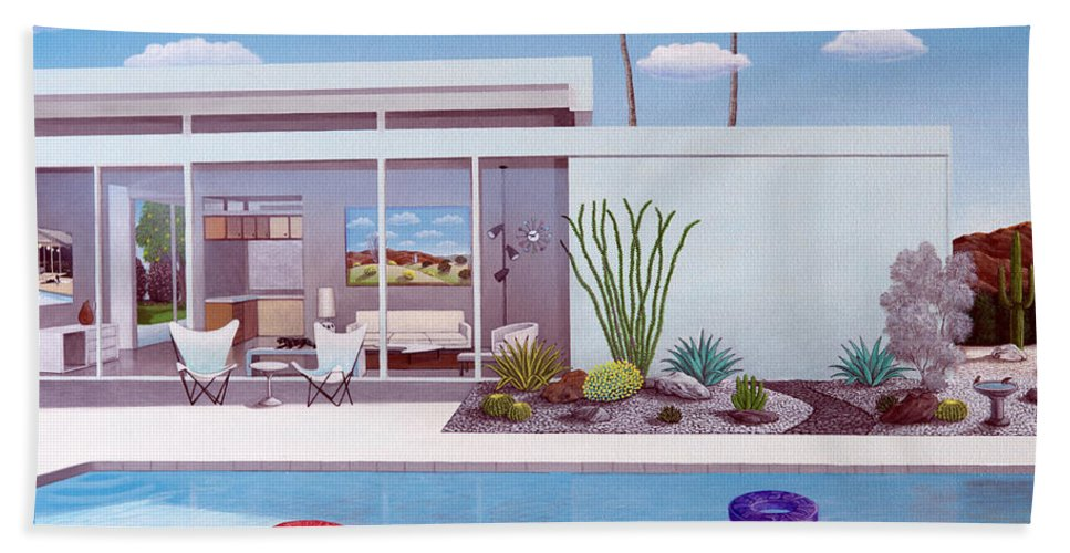 Mid Century Modern Bath Sheet featuring the painting Alexanders Place by Snake Jagger