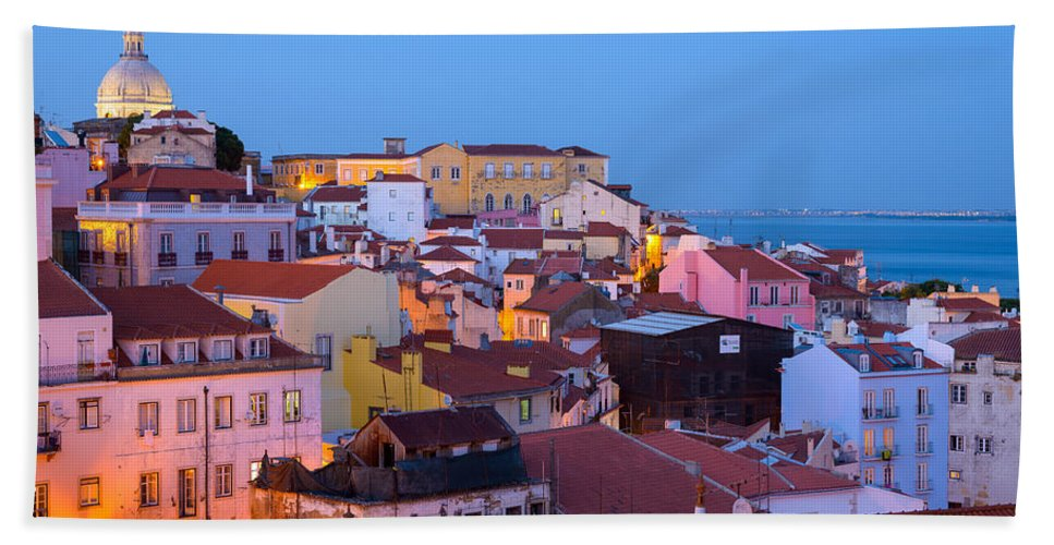 Lisbon Hand Towel featuring the photograph Alfama Rooftops by Mark Robert Rogers