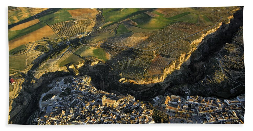 Aerial Photo Hand Towel featuring the photograph Alhama De Granada Volcanic Lands by Guido Montanes Castillo