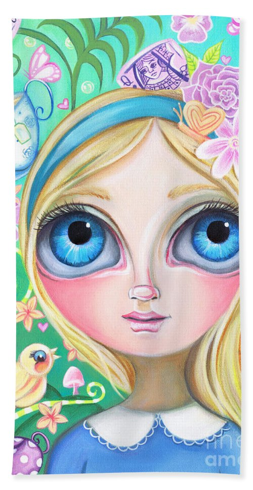 Alice Hand Towel featuring the painting Alice In Pastel Land by Jaz Higgins