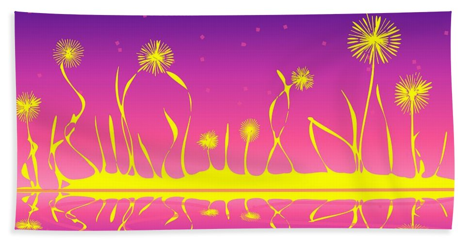 Malakhova Hand Towel featuring the digital art Alien Fire Flowers by Anastasiya Malakhova
