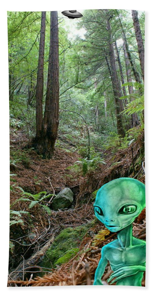 Alien Bath Sheet featuring the photograph Alien In Redwood Forest by Ben Upham III