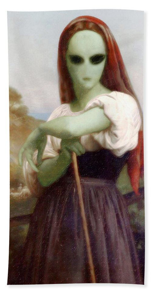 Bouguereau Hand Towel featuring the painting Alien Shepherdess by Gravityx9 Designs