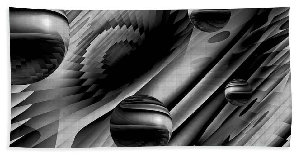 Alignment Of The Planets Hand Towel featuring the digital art Alignment Of The Planets Bw by Barbara St Jean