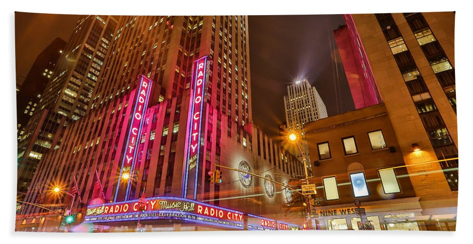 Nyc New York City Manhattan City Cityscape Urban Urbanx radio City Music Hall Empire State Neon Lights Big City Taaffe Hdr 5th Ave. Street Lexington Ave. Lights View big Apple Bath Sheet featuring the photograph Alive by Jimmy Taaffe