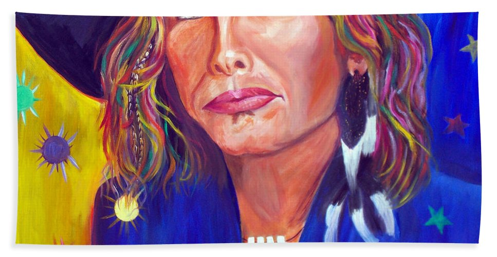 Steven Tyler Bath Sheet featuring the painting Alive by To-Tam Gerwe