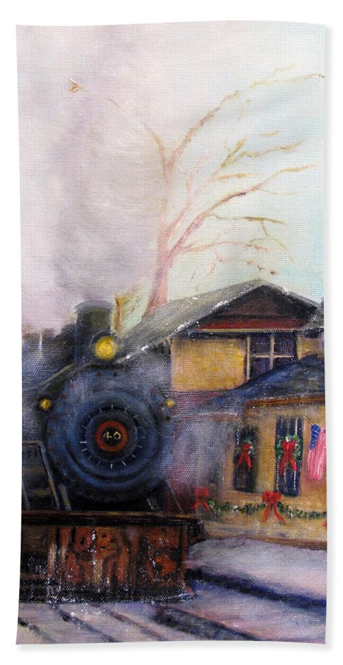Bucks County Bath Sheet featuring the painting All Aboard At The New Hope Train Station by Loretta Luglio
