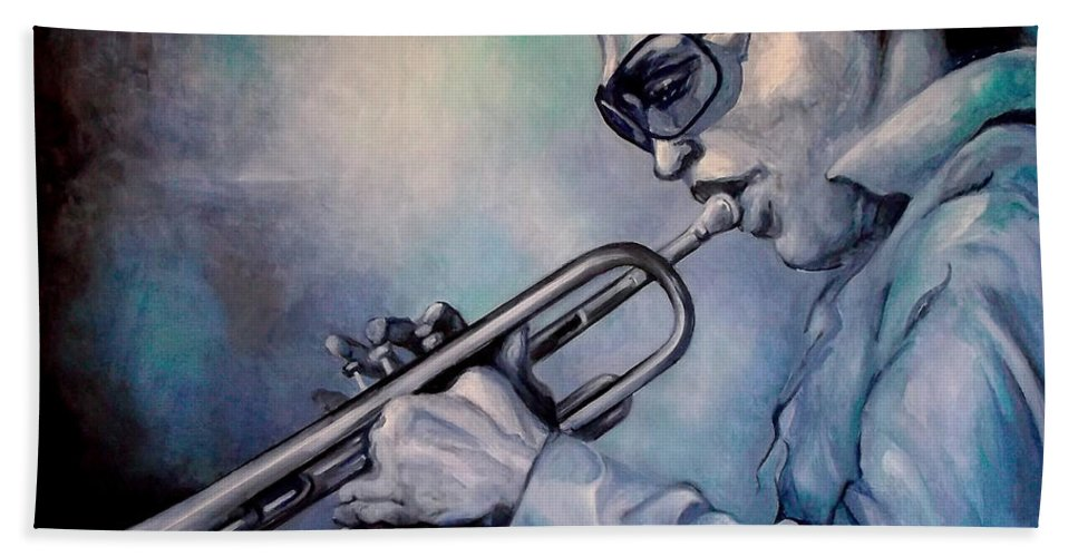 Glecee Limited Edition Print Of Miles Davis Bath Towel featuring the painting All Blue Print by Lloyd DeBerry