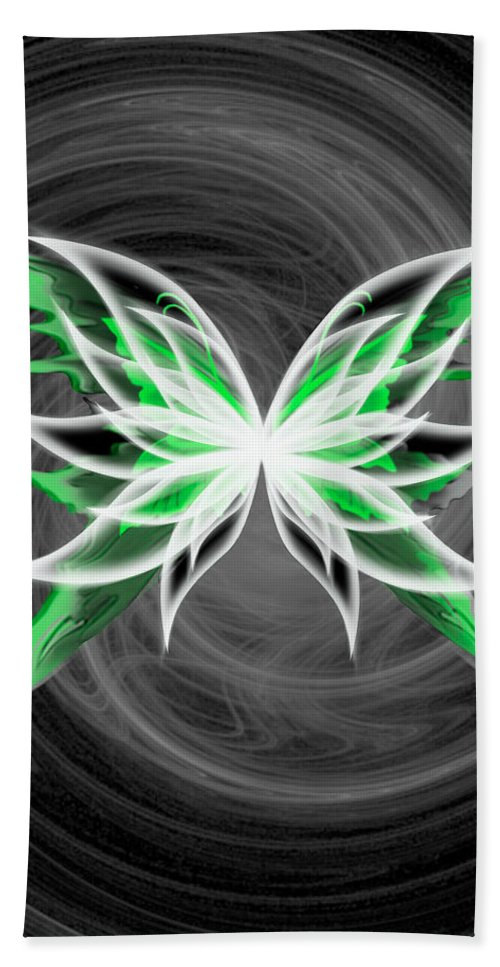Butterfly Hand Towel featuring the digital art All But Green by Teri Schuster