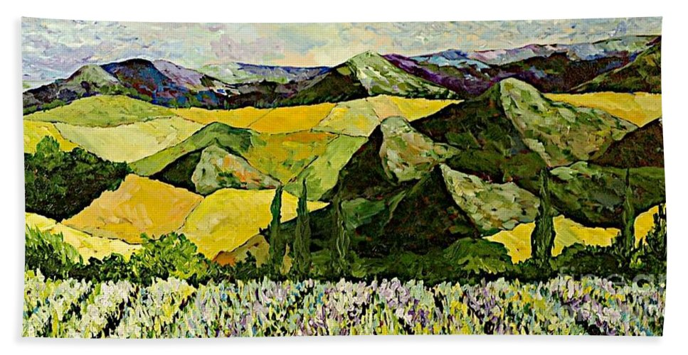 Landscape Hand Towel featuring the painting All Day Long by Allan P Friedlander