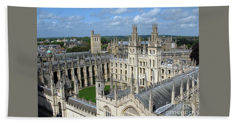 Oxford Bath Towel featuring the photograph All Souls College by Ann Horn