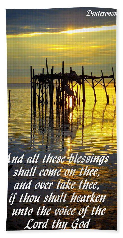 Scripture Print Hand Towel featuring the photograph All These Blessings by Sheri McLeroy