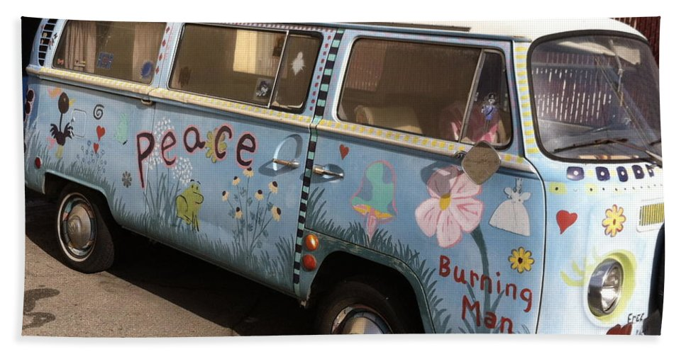 Vw Bath Sheet featuring the painting All We Want Is Peace by Gerry High