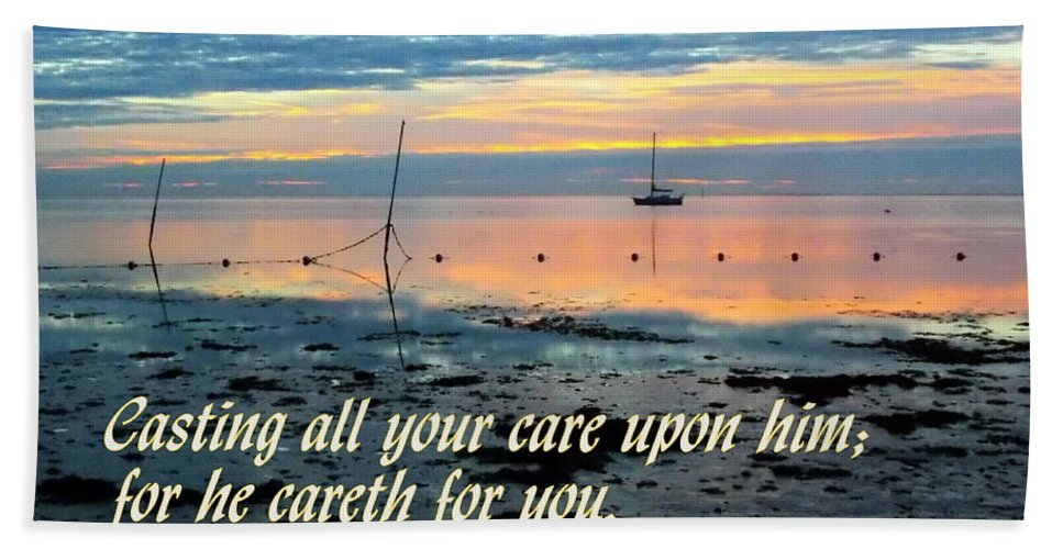 Scripture Print Hand Towel featuring the photograph All Your Cares by Sheri McLeroy