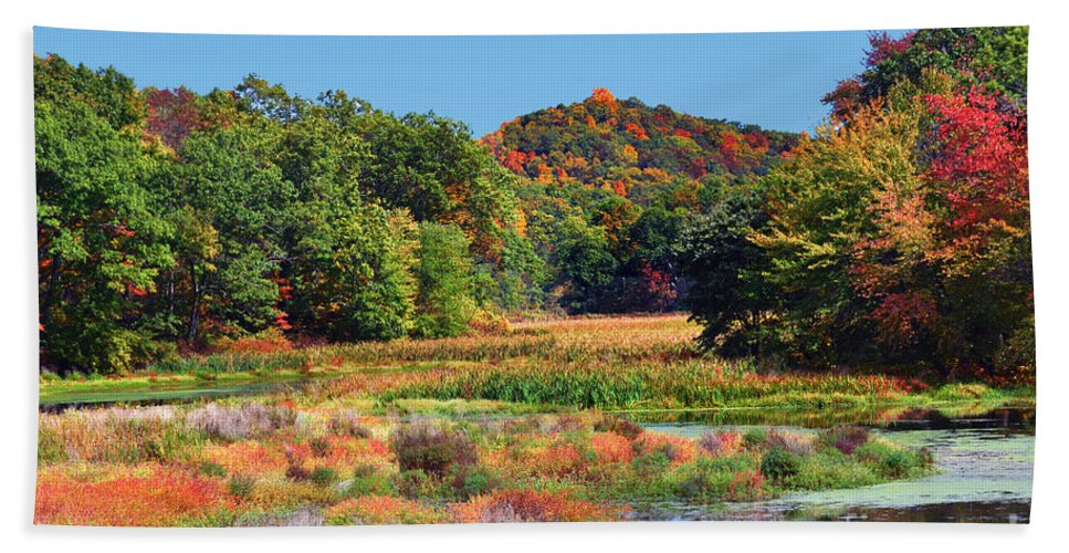 Allamuch Mountains Autumn Hand Towel featuring the photograph Allamuchy Mountains Autumn by Regina Geoghan