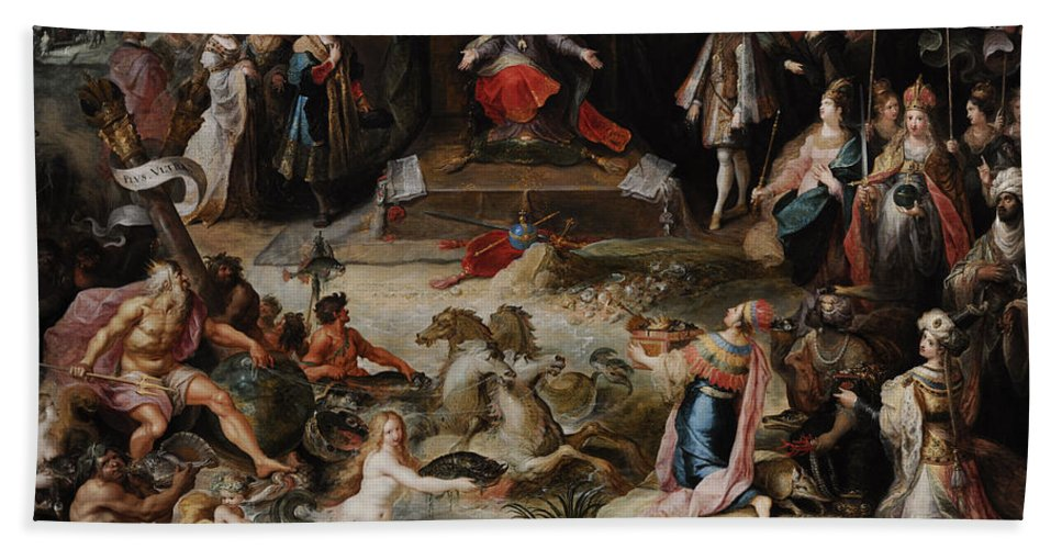 17th Century Bath Towel featuring the photograph Allegory Of The Abdication Of Emperor Charles V In Brussels, C.1630-1640, By Frans Francken by Bridgeman Images