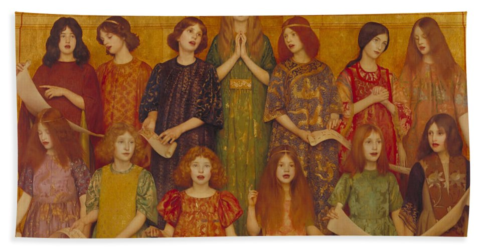 Thomas Cooper Gotch Hand Towel featuring the painting Alleluia by Thomas Cooper Gotch