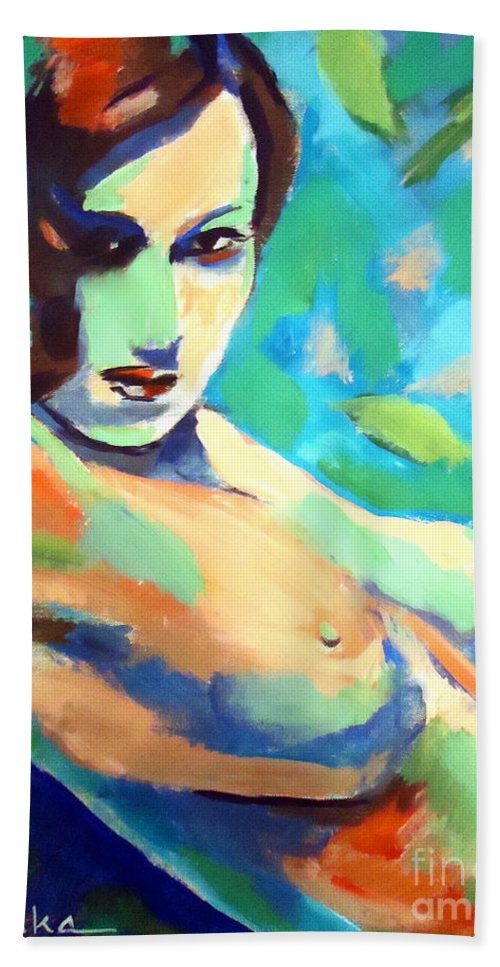 Woman Bath Sheet featuring the painting Allure by Helena Wierzbicki