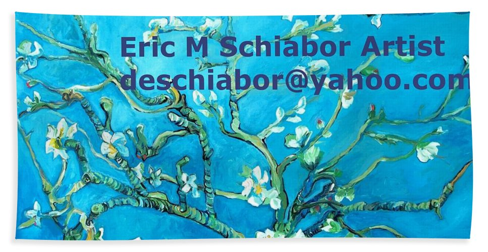 Almond Blossom Van Gogh Bath Sheet featuring the painting Almond Blossom Branches by Eric Schiabor