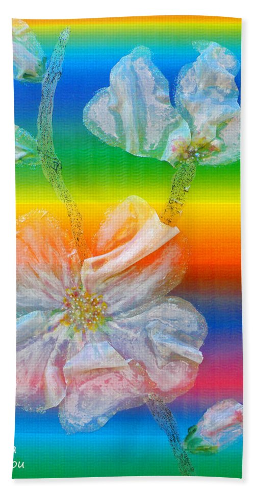 Augusta Stylianou Hand Towel featuring the painting Almond Branch In The Spectrum by Augusta Stylianou